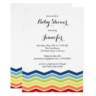 Zickzack Regenbogen-Baby-Dusche Einladung-Junge 12,7 X 17,8 Cm Einladungskarte