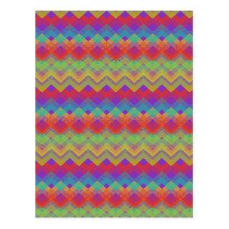 Zickzack Regenbogen-Muster Postkarte