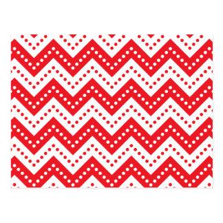 Zickzack Rot der Polka-Punkt-7 Postkarte