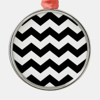Zickzack Schwarzweiss-Muster Silbernes Ornament