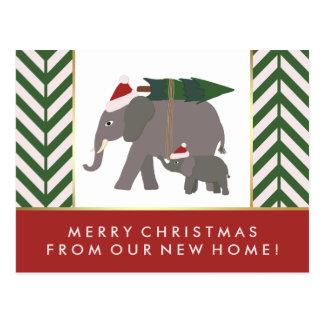 Zickzack Weihnachtselefant-Paar-neue Adresse Postkarte
