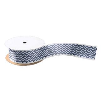 Zickzack Zickzack-Marine-Blau-Silber-Weiß Satinband
