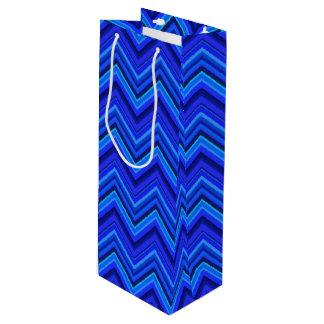 Zickzackmuster der blauen Streifen Geschenktüte Für Weinflaschen