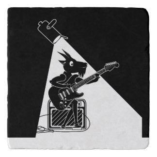 Ziege, die eine E-Gitarre spielt Töpfeuntersetzer