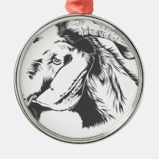 Ziege Rundes Silberfarbenes Ornament