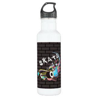 Ziegelstein-Wand-Skategraffiti-Logo mit Brett Edelstahlflasche