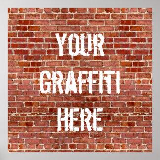 Ziegelstein-Wandpersonalisiertes Graffiti-Gewohnhe Poster