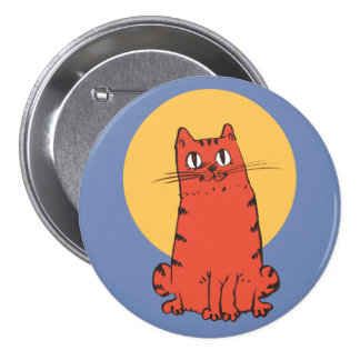 Ziegelsteinfarbkatze lustiger Cartoon süßen Kitty Runder Button 7,6 Cm