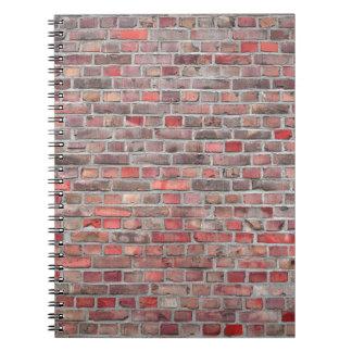 Ziegelsteinwandhintergrund - roter Vintager Stein Notizblock