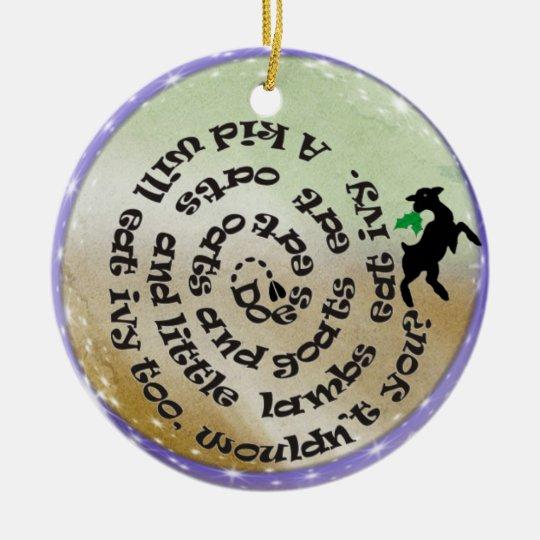 Ziegen Gedicht Lied Weihnachtsverzierung Keramik Ornament