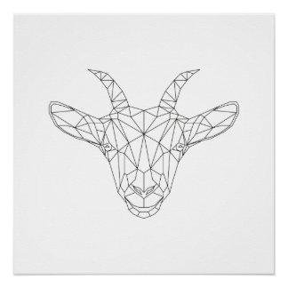 Ziegen-geometrischer schwarzer u. weißer perfektes poster