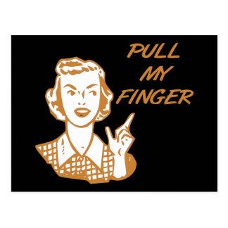 Ziehen Sie meine Finger-Retro Hausfrau-Orange Postkarte