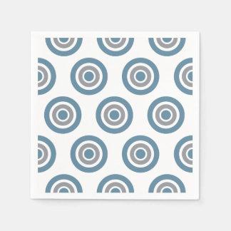 Ziel-Muster-blaue graues Weiß-Cocktail-Servietten Papierservietten