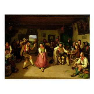 Ziel-Schießen und Tanzen in Oberbayern, 1841 Postkarte