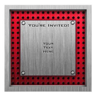 Zielflagge gebürsteter Aluminiumblick Einladung