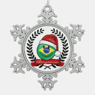 Ziemlich lächelnde brasilianische schneeflocken Zinn-Ornament
