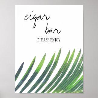 Zigarren-Bar-Zeichen - Grün-Hochzeit Poster