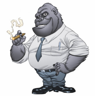 Zigarren-rauchender Geschäftsmann-Chef-Gorilla Freistehende Fotoskulptur