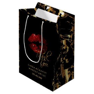 Zimt-rote Glitzer-Lippe u. Goldmarmor - danke Mittlere Geschenktüte