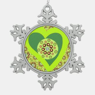 Zinn-Baum-Verzierungs-Grün-Herz-Diamanten Schneeflocken Zinn-Ornament