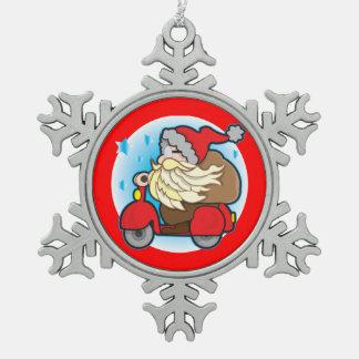 Zinn-Schneeflocke-Dekoration mit Weihnachtsmann Schneeflocken Zinn-Ornament