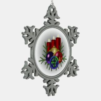 Zinn-Schneeflocke-Verzierung - Empathic Welt Schneeflocken Zinn-Ornament