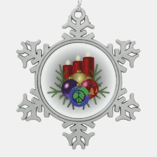 Zinn-Schneeflocke-Verzierung - Weltfrieden Schneeflocken Zinn-Ornament