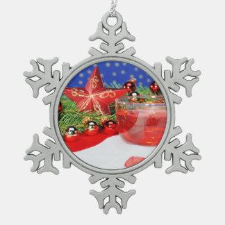 Zinn Schneeflocken Ornament frohes Fest
