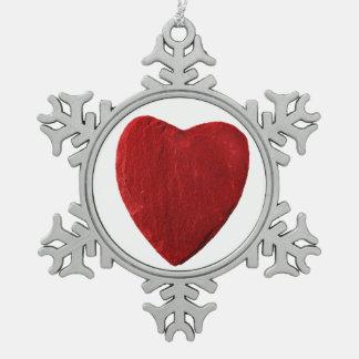 Zinn Schneeflocken Ornament mit Herz