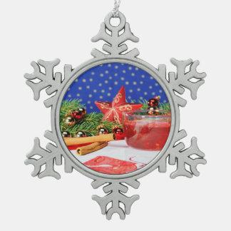 Zinn Schneeflocken Ornament Weihnachten