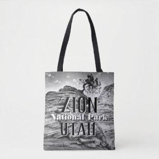 Zion Nationalpark-Bonsais-Baum Schwarzweiss Tasche