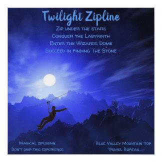 Zipline Plakat Midnite Himmel-Mountain View Poster
