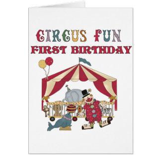 Zirkus-erste Geburtstags-T-Shirts und Geschenke Karte