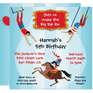 Zirkus-Fliegentrapeze-Geburtstags-Party Einladung