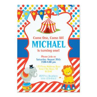Zirkus-Geburtstags-Einladung - Karnevals-Thema Karte
