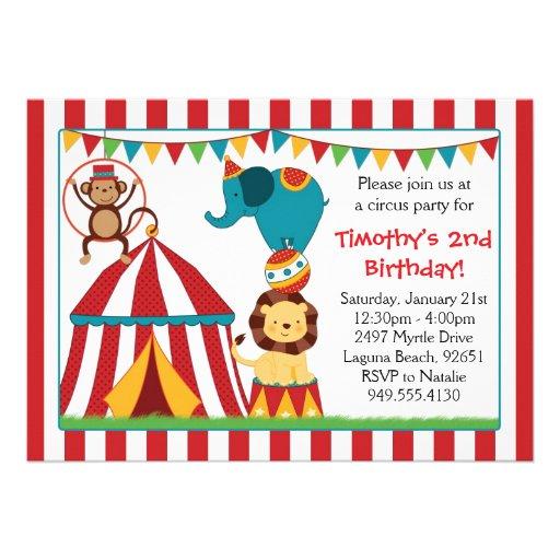 Zirkus-Geburtstags-Party Einladung