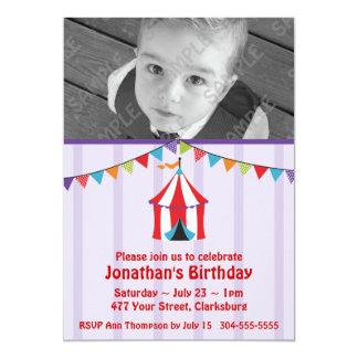 Zirkus-Geburtstags-Party-Foto-Schablone Einladungskarte