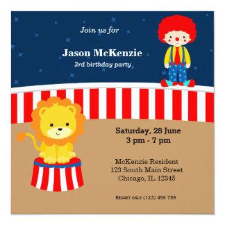 Zirkus-Geburtstags-Party Quadratische 13,3 Cm Einladungskarte