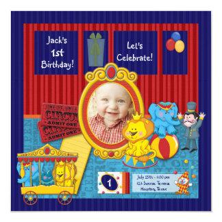 Zirkus-Jungen-Foto-1. Geburtstags-Party Quadratische 13,3 Cm Einladungskarte
