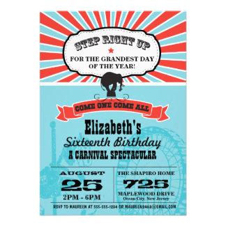 Zirkus-Karnevals-Geburtstag Personalisierte Einladungskarten