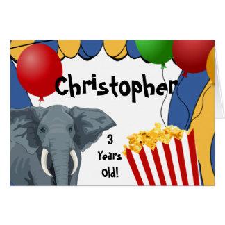 Zirkus-Karnevals-Gewohnheits-Geburtstag Karte