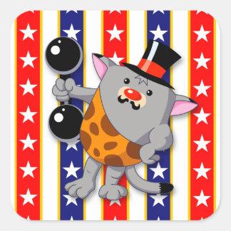 Zirkus-Katze Quadratischer Aufkleber