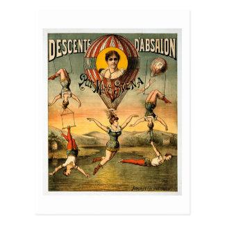 Zirkus-Plakat Fräulein-Stena Flying Trapese Postkarte