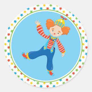 Zirkus-themenorientierter   lustiger Clown Runder Aufkleber