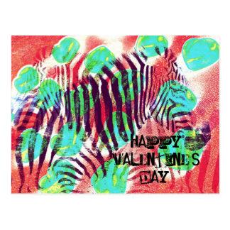 Zirkus Zebra - glücklicher Valentinstag Postkarte