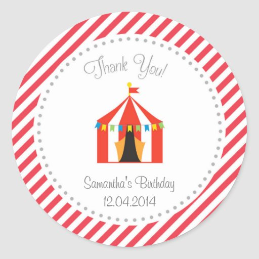 Zirkus-Zelt-Geburtstag danken Ihnen Aufkleber-Rot