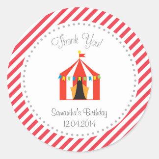 Zirkus-Zelt-Geburtstag danken Ihnen Aufkleber-Rot Runder Aufkleber