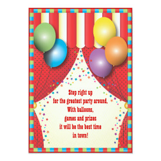 Zirkus-Zelt-Karnevals-Geburtstags-Party Einladung 12,7 X 17,8 Cm Einladungskarte