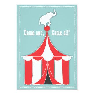 Zirkus-Zelt u. Elefant-Kindergeburtstag-Party 12,7 X 17,8 Cm Einladungskarte