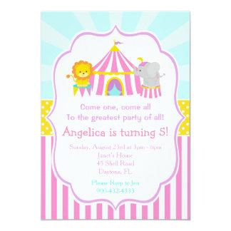 Zirkuszelt-Zirkus-Karnevals-Geburtstag im Rosa Karte